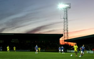 Torquay v Carlisle: A general view as the Sun sets over Plainmoor