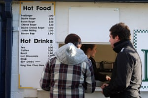 Torquay v Carlisle: Carlisle United supporters buy hot food and drinks inside the ground