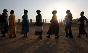 Sudan referendum: Southern Sudanese women line up to cast their votes in Juba, Southern Sudan