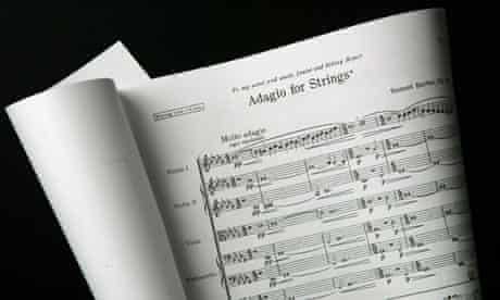 Manuscript of Samuel Barber's Adagio for Strings