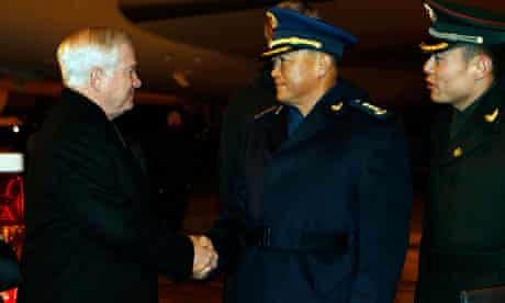 The US defence secretary, Robert Gates, is welcomed to Beijing by General Ma Xiao Tian