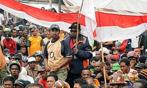 Workers at Freeport-McMoran's huge Grasberg mine in Timika, Papua province, are striking over pay
