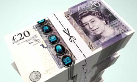 Stack of  £20 bank notes