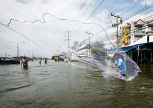 Flooding in Thailand: A man casts a fishing net in a flooded area