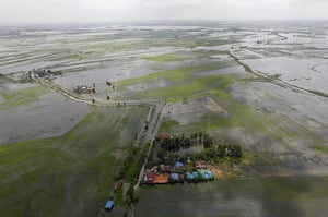 Flooding in Thailand: An aerial view of the flooded area