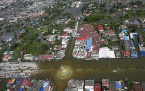 Flooding in Thailand: An aerial view of an area in Ayutthaya province