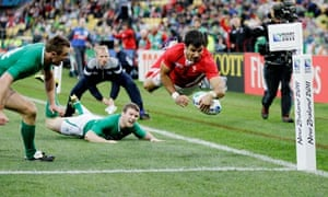 Wales's Mike Phillips scores against Ireland 8/10/11