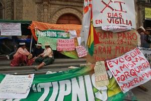 Bolivia Tipnis protests: 29 September: Natives and activists at a vigil to support Bolivian natives