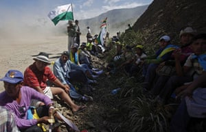 Bolivia Tipnis protests: 9 October: Marchers rest during their advance towards La Paz