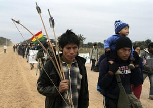 Bolivia Tipnis protests: 22 August: Indigenous people walk near Puerto San Borja on the eighth day