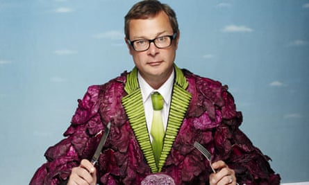 Hugh Fearnley-Whittingstall and his coat of vegetables in his Channel 4 show