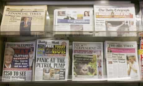 Newspapers on a newstand