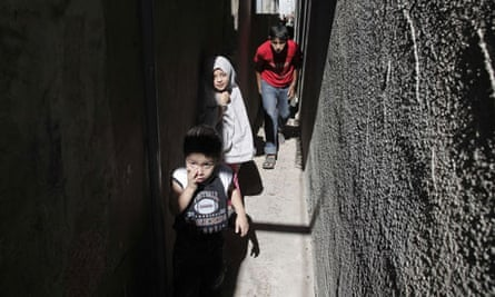 Palestinian children in the Jabalia refugee camp, northern Gaza Strip