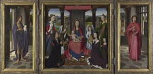 The Art Museum / Phaidon : The Donne Triptych, openend, about 1478, by Hans Memling