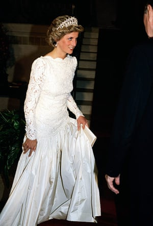 The history of lace: Diana, Princess of Wales, attending a dinner in Washington DC, 1985