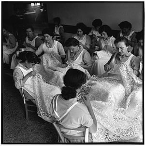 The history of lace: Women making lace on the island of Burano, Italy, 1954