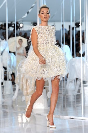 The history of lace: Kate Moss during the Louis Vuitton Ready to Wear Spring/Summer 2012 show