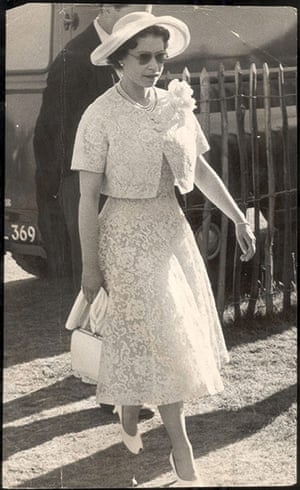 The history of lace: Queen Elizabeth II arrives at Windsor cocktail party, 1959