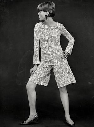 The history of lace: A lace cullotte suit by Biba, 1964