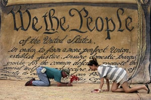 Occupy protests: Washington: People sign a huge copy of the US Constitution
