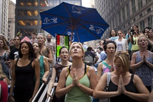 Occupy protests: New York: Women participate in a public session of yoga