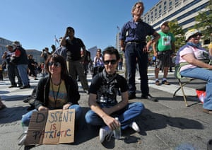 Occupy protests: Washington: People listen to speakers at Freedom Plaza