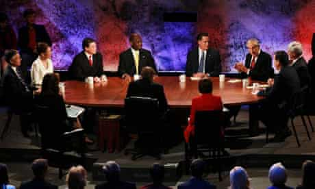 Republican candidates deabte the economy at a Bloomberg debate