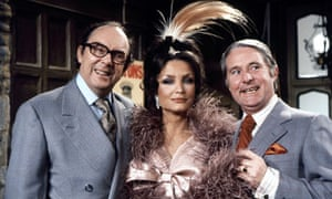 Morecambe and Wise with Kate O'Mara on their 1976 BBC Christmas Show