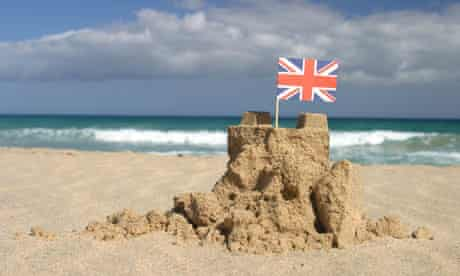 Union Jack in a sandcastle