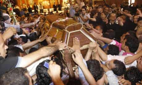 Coptic Christians mourn dead after deadly clashes, Cairo, Egypt - 10 Oct 2011