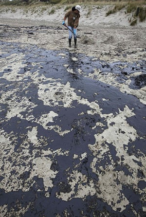 Rena oil spill: Aon Papamoa Beach near Tauranga , New Zealand