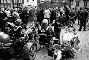 Wootton Bassett: Members of the Royal British Legion Bikers chat before a repatriation