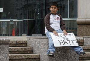 Alabama immigration: Oscar Chacon, 10, from Oneonta, takes part in a demonstration