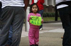 Alabama immigration: Two year-old Angela Cruz takes part in a demonstration