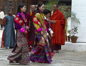 Bhutan royal wedding: Members of the royal family walk out after the royal marriage ceremony