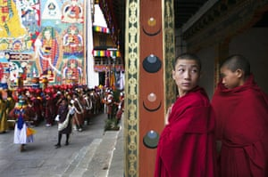 Bhutan royal wedding: Monks watch the procession