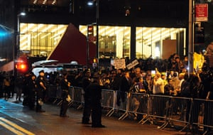Occupy Wall Street: Police stand outside Zuccotti Park as protesters gather
