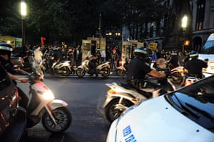 Occupy Wall Street: Police on scooters escort protesters as they march down Broadway