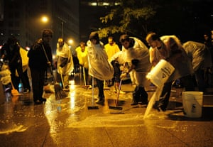 Occupy Wall Street: Protesters spent the night cleaning the park