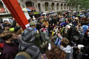 Occupy Wall Street: Demonstrators hold a meeting