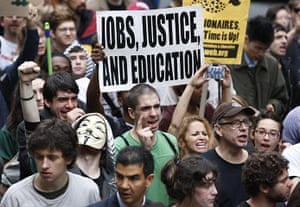 Occupy Wall Street: Occupy Wall Street protesters partake in a celebratory march
