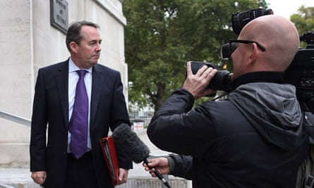 Liam Fox outside the Ministry of Defence