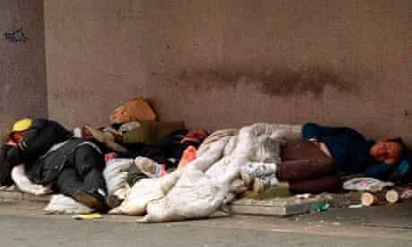 Homeless people in London in nineties