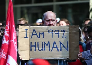 Occupy Global: A protester at the Occupy Sydney rally demanding changes to economic policy