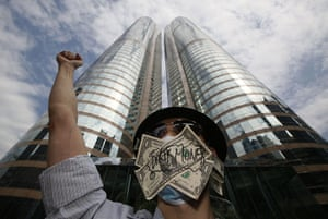 Occupy Global: A protester takes part in an Occupy Hong Kong rally