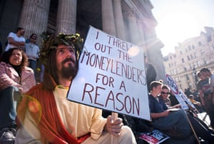 Occupy London: A man dressed as Jesus sits amongst other protestors at Occupy London