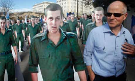 Noam Shalit with cardboard cut-outs of his son Gilad