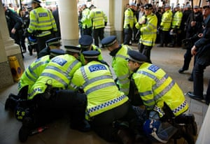 Occupy London protests: Oct 15: Police arrest a man outside St Paul's Cathedral