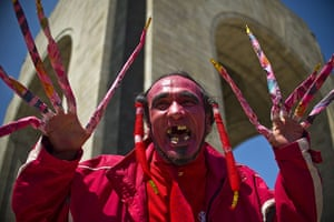 Occupy protests: A man dressed like a devil protests in Mexico City