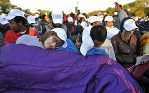 Martin Luther King: People sleep before the Martin Luther King Jr Memorial dedication ceremony
